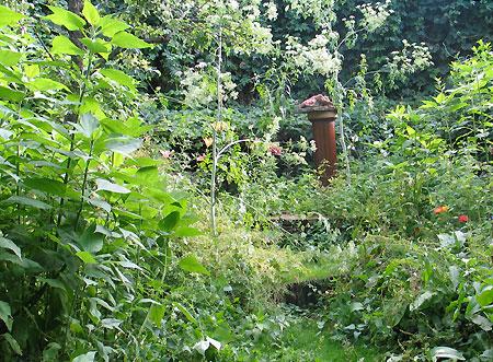 Gartenbeet mit Yogastatue