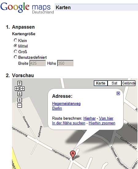 Googlemap anpassen