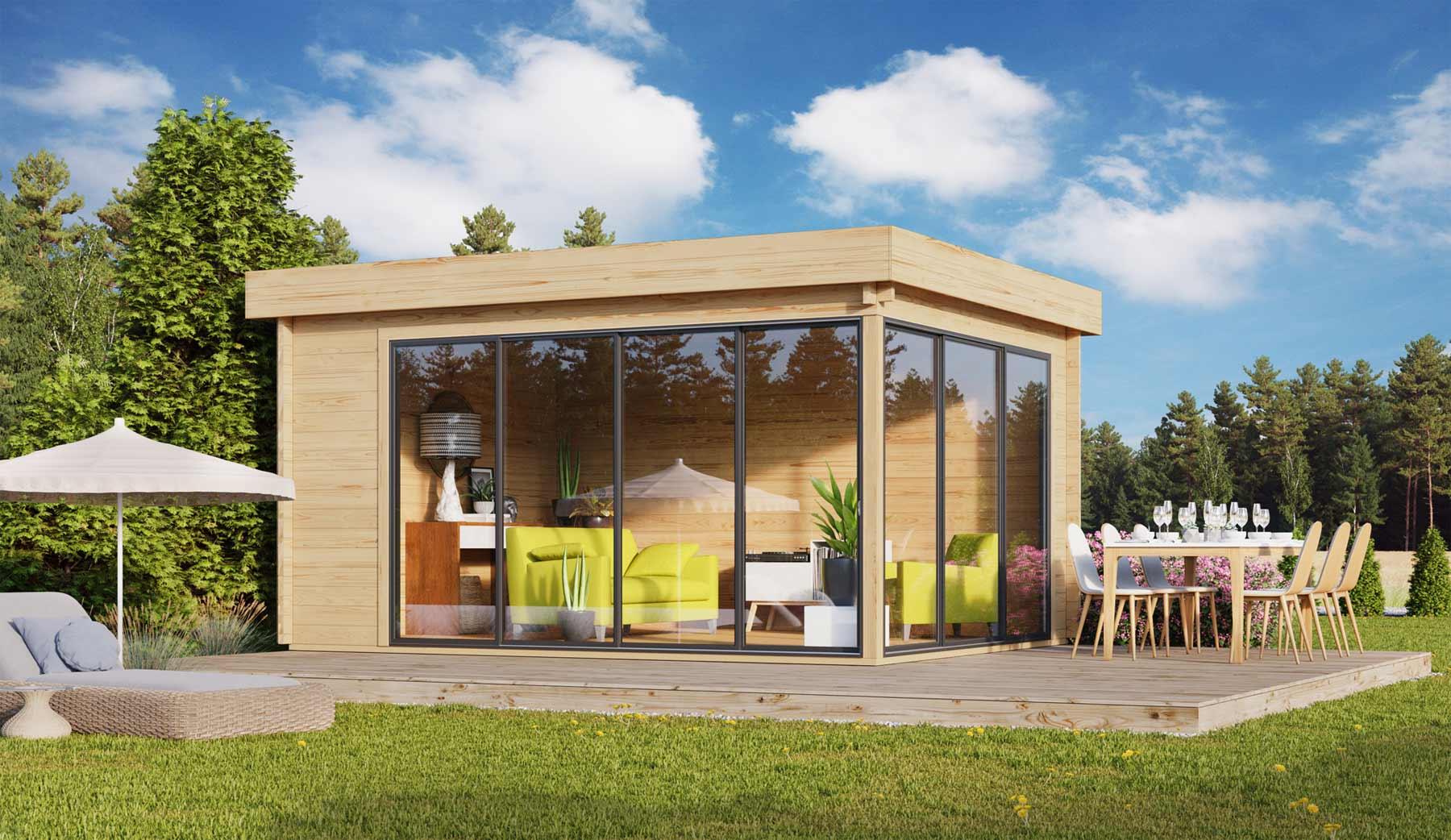 Lounge Gartenhaus mit bodentiefen Fenstern