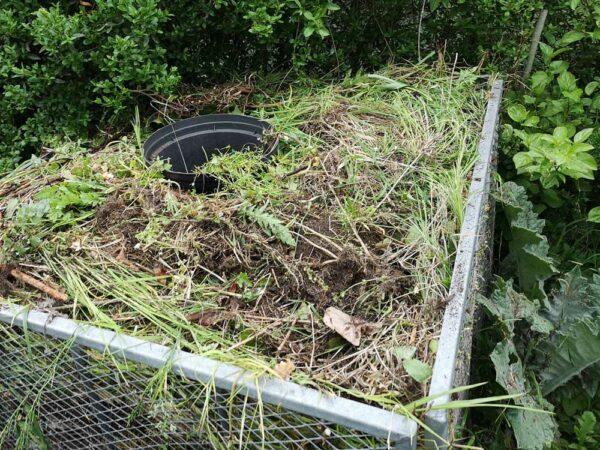 Kompost mit leerem Topf
